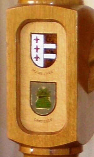 Escudo pirograbado en varios colores